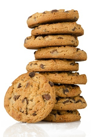 14507825 - chocolate chip cookies isolated on white background.